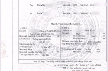 Nhà có 4 phòng trọ cần bán gấp, đường số 5, P. Linh Xuân, Thủ Đức