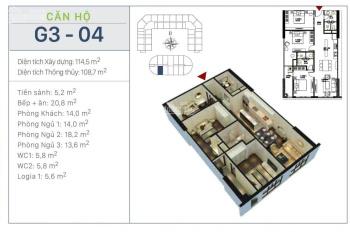 Cắt lỗ căn hộ 3PN tầng 15 dự án Sunshine Garden Vĩnh Tuy - vào ở luôn - free 2 năm dịch vụ