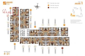 Akari - căn góc view bờ sông số 18 lầu 4, block AK1, 2.7tỷ(75m2)