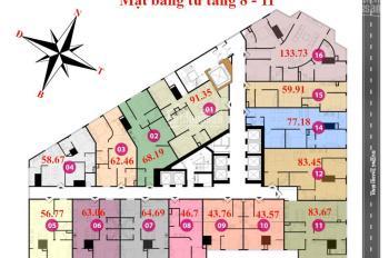 Cần tiền bán gấp 2 căn hộ 3PN, Tháp Doanh Nhân, chỉ 1,693 tỷ/căn nhận nhà ngay