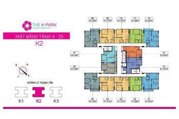 CC cần bán căn 06 tòa K2 - The K Park Văn Phú, DT 54m2, 2PN, 2WC, giá 1.49tỷ. LH 0966 339 117