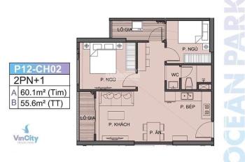 Bán cắt lỗ sâu căn chung cư S2.09 Vinhomes Ocean Park 55m2 tầng trung, hướng Đông Nam view thoáng