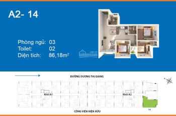 87m2/3PN/2.35 tỷ tại CH Moscow Tower quận 12 cần bán. Hướng Đông Nam, căn hộ mới giao nhà