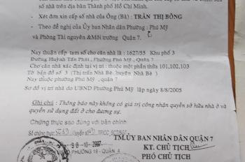 Nhà 1627/55 Huỳnh Tấn Phát, q7, chính chủ