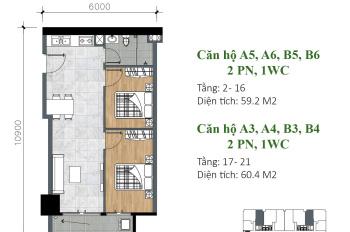 Bán căn hộ Charm Plaza 2PN 1WC 60m2 tầng số 20 đẹp nhất trong dự án, 0914364037 tặng full nội thất