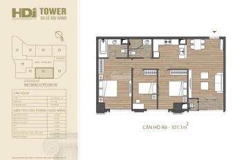 HDI Tower, căn hộ duy nhất 101m2, tầng 16, giá 9.8 tỷ, full đồ ngoại nhập, nhận nhà ở ngay