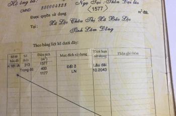 Bán đất ở thổ cư 1,577m2 chợ cũ Đại Lào, Tp. Bảo Lộc, phía sau giáp suối