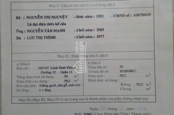 Chính chủ cần bán gấp nhà HXH Lãnh Binh Thăng 79m2 5,8 tỷ TL 0909616652