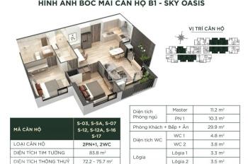 Trả góp CC Sky Oasis Ecopark, căn 2PN, 2 WC Đông Nam view vịnh đảo & hồ Thiên Nga, giá 2 tỷ 150