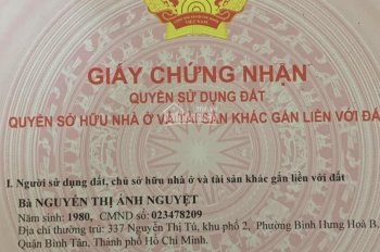 Bán đất HXH 6m Phú Thọ Hoà, 4mx16m, giá tốt 5.05 tỷ, P. Phú thọ Hoà, Q. Tân Phú