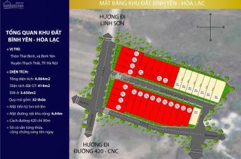 Đất nền Hòa Lạc (gần CNC) 100m2, mặt tiền 5m, Sẵn sổ đỏ, đường vào khu đất 10m, Lh: 0332554566