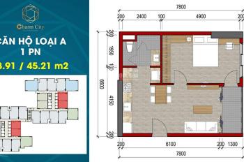 Thanh lý căn hộ dự án Charm City; căn 1PN 49m2; view hướng đông; bán giá gốc chênh 40tr bao phí