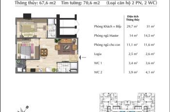 Chị gái cần bán nhanh căn hộ 67.6 m2 - P1 - Eurowindow River Park trước tháng ngâu. 0985.085.747