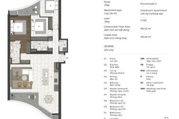 Bán căn hộ City Garden 3 phòng ngủ, 160m2 ở tháp mới