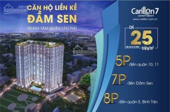 Căn hộ Carillon 7 đủ mọi tiện ích, mới, cao cấp, Q.Tân Phú giáp Q6 và Q11: 1-2-3PN giá từ 1.7 tỷ