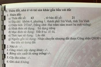Bán nhà mặt tiền số 150 Lê Lợi, phường 1, Trà Vinh, 410m2, 11mx33m, nở hậu 0903696811