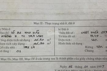 Chính chủ bán đất mặt tiền số 84 Kho Dầu, phường 5, Trà Vinh, 120m2, 7,5x16m, 3 tỷ, LH: 0903696811