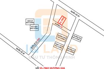 Bán lô đất 55.7m2 Hương Gia, Phú Cường, Sóc Sơn, Hà Nội