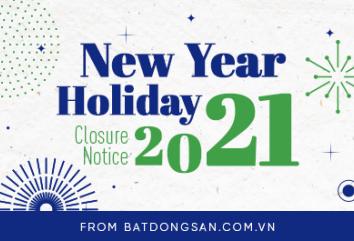 Batdongsan.com.vn's New Year Holiday Closure Notice