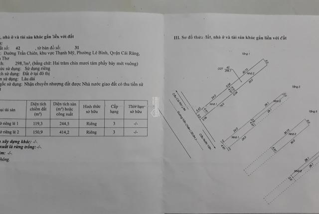 Bán nhà và 15 phòng trọ đường Trần Chiên, Q. Cái Răng, Cần Thơ. LH 0907 936959