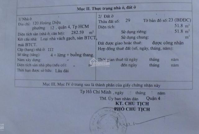 Chính chủ bán nhà phố ngay góc ngã tư 2 MT Đ.Hoàng Diệu và Đoàn Văn Bơ P12 Q4 TP.HCM.LH: 0916911957
