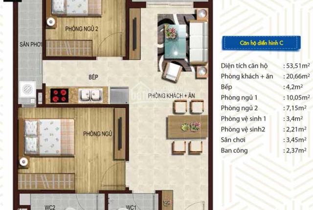 Bán vốn căn hộ Blue Sky, Quân 2, 53.3m2 (thông thủy) 2PN, 2WC, giá 1,4 tỷ, LH: 0938759771