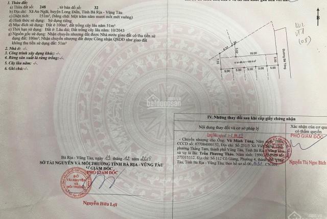 Sổ đỏ chính chủ 151m2, cách UBND huyện Long Điền 500m, giá 850tr