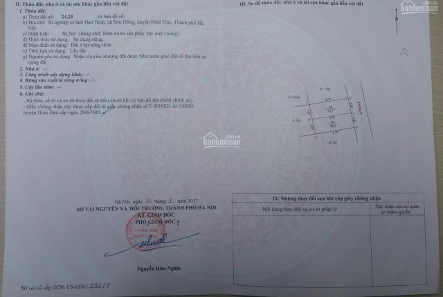 Chính chủ bán lô đất tại khu Ươm Tơ - Xã Sơn Đồng - Huyện Hoài Đức - Hà Nội, LH 0988771099