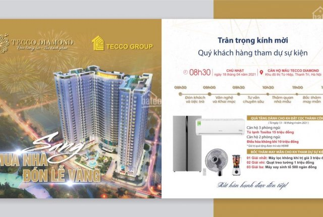 Bán căn 2PN hot nhất dự án Tecco Diamond - Thanh Trì. Chiết khấu 200tr, liên hệ: 0366958658