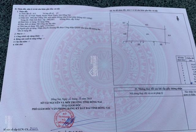 Cần bán gấp lô đất 1000m2 huyện Nhơn Trạch, Đồng Nai