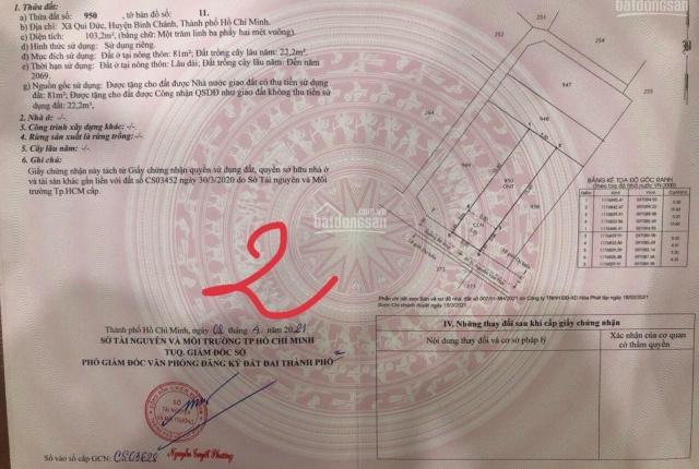 Đất đường Nguyễn Văn Thời xã Quy Đức, huyện Bình Chánh, sổ hồng riêng