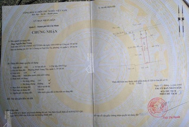 Chính chủ cần bán lô đất mặt tiền đường Số 25, quận 2, giấy tờ đầy đủ