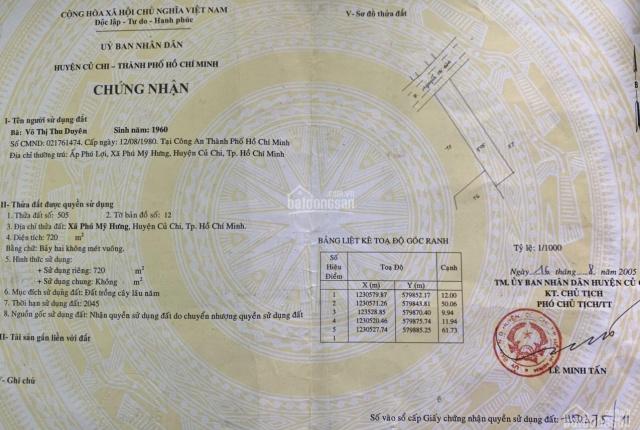 Kẹt tiền bán gấp đất mặt tiền đường Nguyễn Thị Rành diện tích 720(12x60) ngã ba Tỉnh Lộ 15