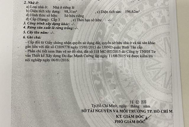 Bán nhà 27/36/65 Bùi Tư Toàn, P An Lạc, Bình Tân, TPHCM (hoa hồng 2%)