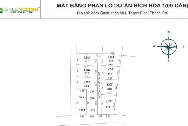 Bán đất thổ cư giá rẻ 30m2, tại Bích Hòa, Thanh Oai, cách Quốc Lộ 21B 200m chỉ 870tr