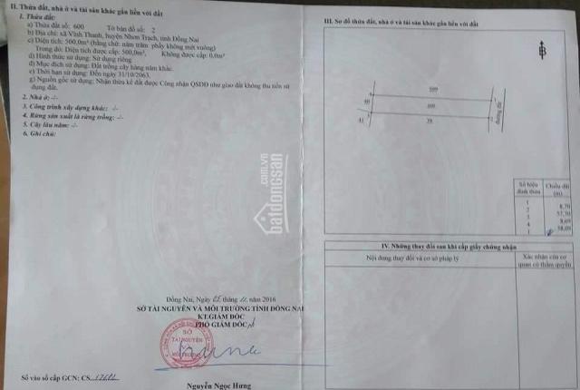 Chính chủ cần tiền bán nhanh lô Vĩnh Thanh, Nhơn Trạch, ST/ST: 2/600, diện tích 500m2, 2.2 tỷ