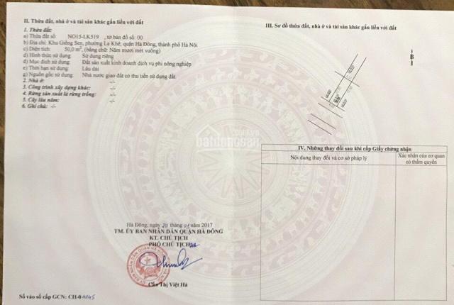 Bán đất dịch vụ Giếng Sen, khu đô thị Văn Khê, Vị trí: Lô 518 - Lô 519 khu NO15