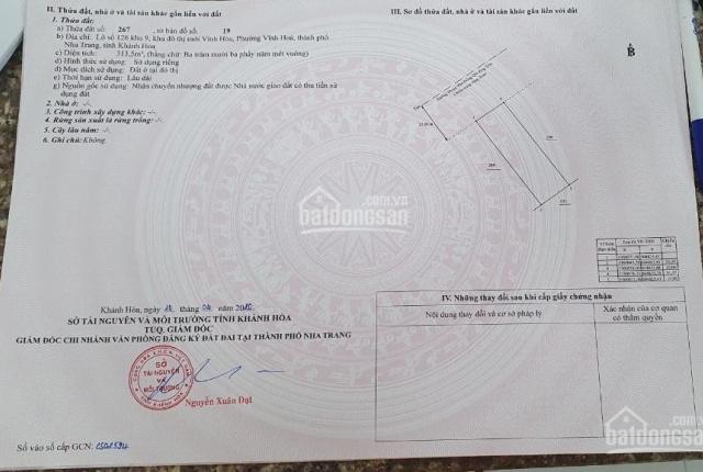 Bán đất biệt thự đường Phạm Văn Đồng KĐT mới Vĩnh Hoà tại Nha Trang, lô 125 khu 9 314.7m2 50trd/m2