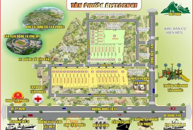 Bán lô đất 5x20m(100m2), KDC Tân Phước, KP. Ông Trịnh, TX. Phú Mỹ, giá chỉ 1,26 tỷ