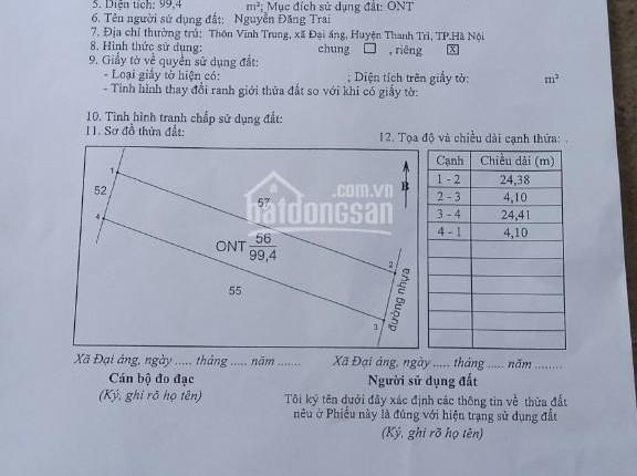 Chính chủ bán đất B7 thôn Vĩnh Trung, đường Liên Xã, 99,4m2, số đỏ chính chủ