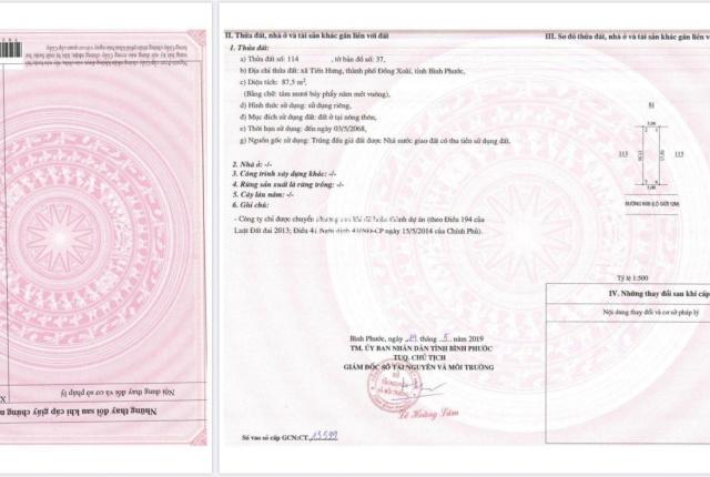Có sổ hồng, bán gấp lô đất Cát Tường DT 5x17.5m, giá 850 triệu liền kề KCN Đồng Xoài 3, 0966887957