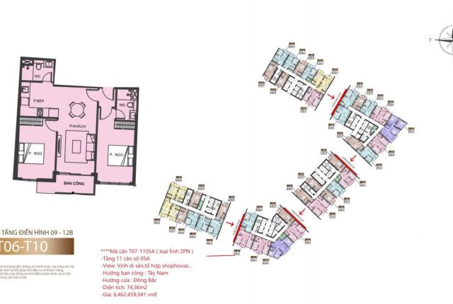 Độc quyền quỹ căn 2PN T7 - 1105A view trực diện vịnh di sản + tổ hợp shophouse. Giá đợt 1