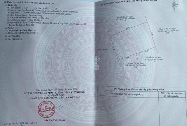 Chính chủ cần bán nền 150m2 tại ấp Ông Lang, cách DT 45 chỉ 500m giá chỉ 950tr. LH 0907777629