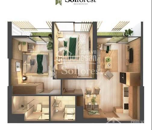 Bán cắt lỗ vì dịch căn hộ 2PN 63.4m2 Solforest, giá 2.54 tỷ. Cho vay 80% 0% LS 2 năm, ĐT 0903463935