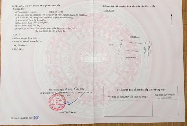 Chính chủ bán đất Thôn Bái Trong - Xã Hoa Động - Thuỷ Nguyên liên hệ 039.8888.808