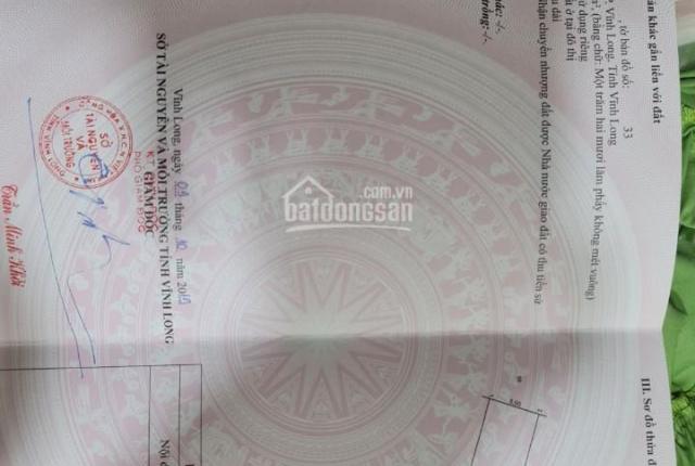 Chính chủ cần bán lô đất mặt tiền đường số 1 , phường 5, TP Vĩnh Long, DT 5x25 thổ cư 100%,