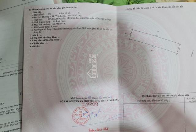 Chính chủ cần bán lô đất mặt tiền đường Số 1, phường 5, TP Vĩnh Long, DT 5x25m thổ cư 100%