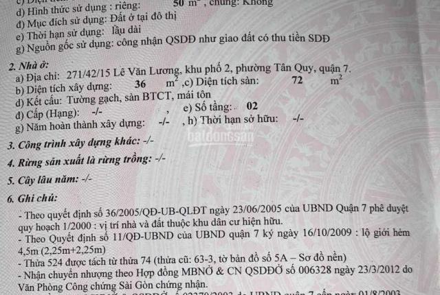 Chính chủ cần bán nhà hẻm 271 đường Lê Văn Lương