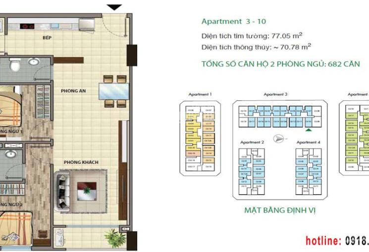 Bán căn hộ Cityland Park Hills nhìn về hồ bơi, thiết kế vuông vức, DT 71m2, 2 PN, 2 WC lầu cao