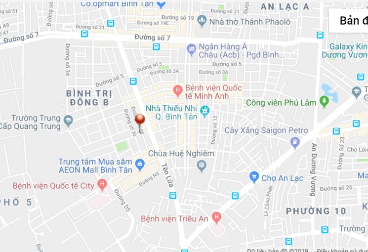 Bán đất MT đường Số 30, khu Tên Lửa, DT 5x20m, 11.6 tỷ. Gần Aeon Mall, đoạn chưa qua ĐS 1